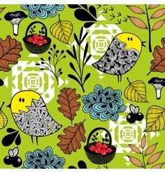 Seamless background of doodle birds and nature vector