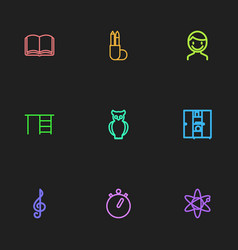 Set of 9 editable teach outline icons includes vector