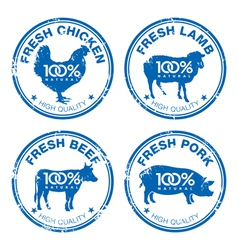 Set of fresh meat stamps vector image