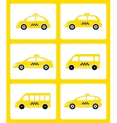 set of yellow taxi cars vector image vector image