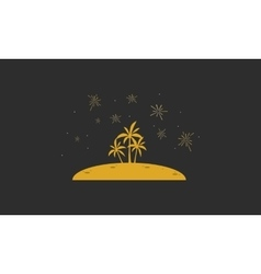 Silhouette of palm in hill landscape vector