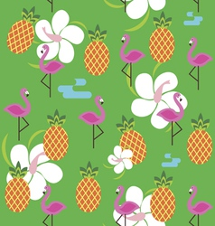 Summer seamless print with flamingo and pineapples vector
