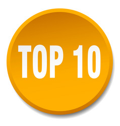 Top 10 orange round flat isolated push button vector
