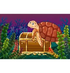 Turtle swimming under the sea vector