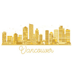 Vancouver city skyline golden silhouette vector
