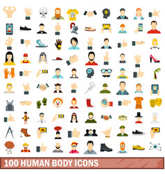 100 human body icons set flat style vector