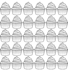 decorated cupcake icon vector image