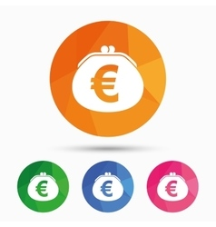Wallet euro sign icon cash bag symbol vector