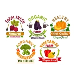 Fresh farm organic vegetables badges set vector