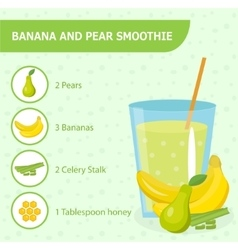 Banana and pear smoothie recipe with ingredients vector