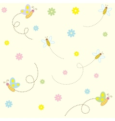 Seamless pattern with cute insects and flowers vector