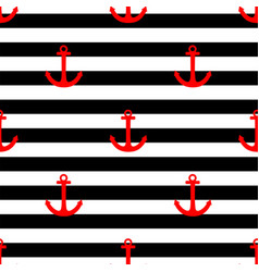 Tile sailor pattern with red anchor vector