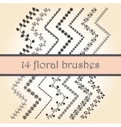 14 Decorative Scribble Paintbrushes vector image