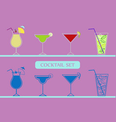 Icons set with cocktails vector