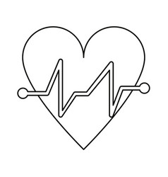 Heart beat pulse cardiac medical thin line vector