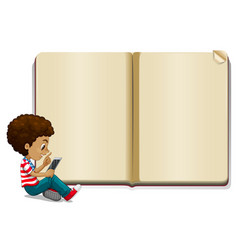 Boy reading book and blank book template vector