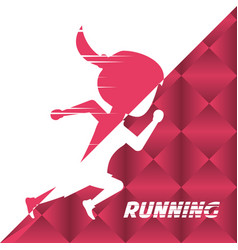 Silhouette athlete woman running in competition vector