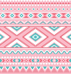 Tribal seamless pattern aztec pink and green vector