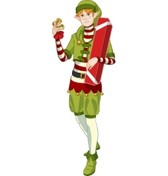 Christmas elf caucasian boy with gift lineart vector