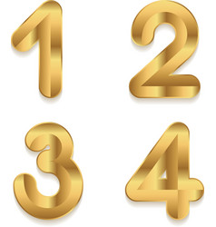 Golden alphabet set of metallic 3d numbers vector