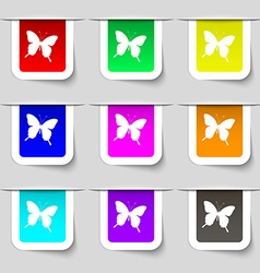 Butterfly icon sign set of multicolored modern vector