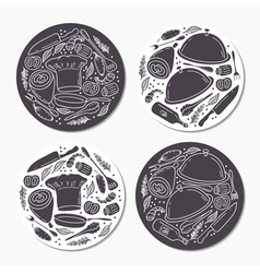 Round stickers set with doodle food patterns Hand vector image