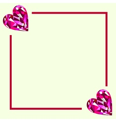 Greeting card with pink gems in the shape of heart vector