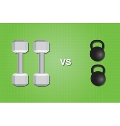 Dumbell vs versus kettlebell compare comparing vector