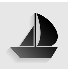 Sail boat sign black paper with shadow on gray vector