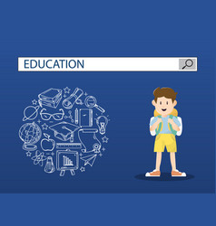A little boy with education search engine bar vector