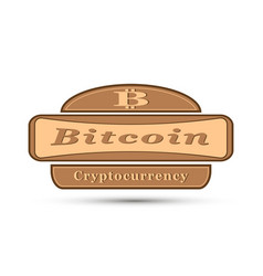 badge with bit coin symbol vector image vector image