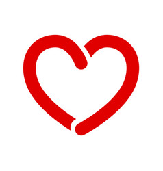 Bold opened line red heart icon on white vector