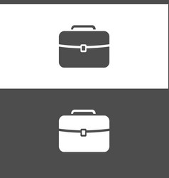 Briefcase icon on dark and white background vector