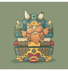 Cartoon styled dwarf sitting on the chest vector