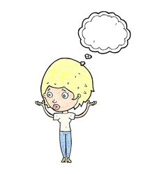 Cartoon woman raising hands in air with thought vector