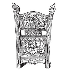Carving are norwegian carved choir seat vintage vector