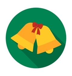 Christmas bells icon in flat style isolated on vector image