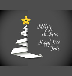 christmas tree made from white paper stripe vector image