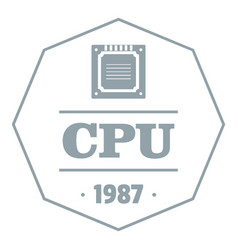 cpu logo simple gray style vector image vector image