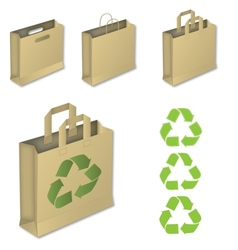 Four brown paper bags with recycle symbol vector image vector image
