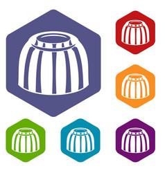 Fruit jelly icons set hexagon vector