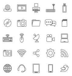 Hi tech line icons on white background vector image vector image