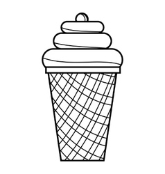 Ice cream cone icon outline style vector
