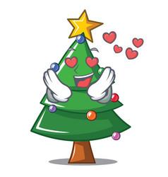 In love christmas tree character cartoon vector