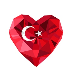 Jewelry turkish heart with the flag of the vector