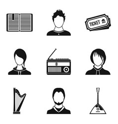 musician icons set simple style vector image
