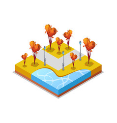 Park zone with trimmed trees isometric 3d icon vector