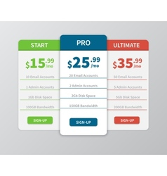 Pricing comparison table vector
