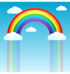 Rainbow rain and clouds in the sky vector