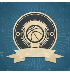 Retro basketball emblem vector